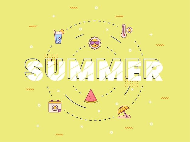 Lettrage de calligraphie de typographie d'été autour de l'icône de l'été avec style de contour