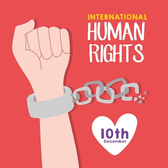 Lettrage de campagne des droits de l'homme avec des chaînes de rupture de la main et conception d'illustration vectorielle coeur