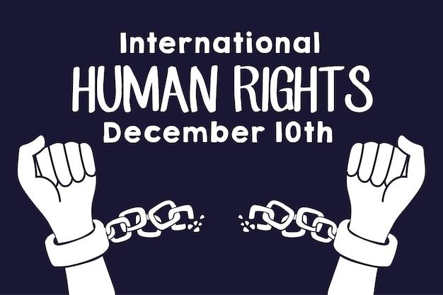 Lettrage de campagne des droits de l'homme avec les mains brisant les chaînes vector illustration design