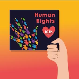 Lettrage de campagne des droits de l'homme avec pancarte de levage à la main et mains imprimer des couleurs vector illustration design