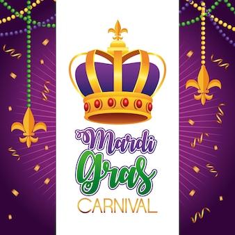 Lettrage de carnaval de mardi gras avec illustration de la couronne de la reine