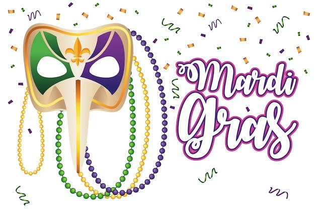 Lettrage de carnaval de mardi gras avec illustration de masque arlequin