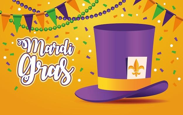 Lettrage de carnaval de mardi gras avec tophat et illustration de guirlandes