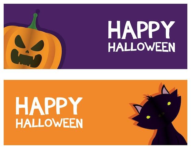 Lettrage de carte halloween heureux avec conception d'illustration vectorielle chat et citrouille