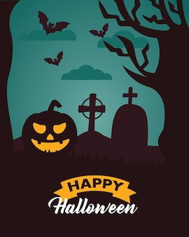 Lettrage de célébration d'halloween heureux avec citrouille au cimetière