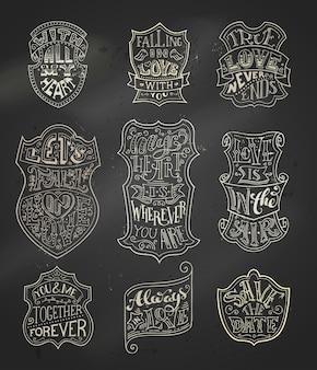 Lettrage chak manuscrit vintage dans des badges