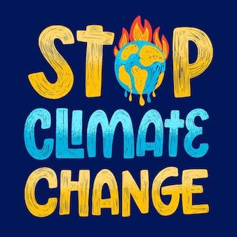 Lettrage de changement climatique dessiné à la main