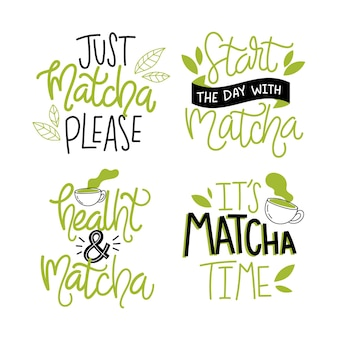 Lettrage de la collection de thé matcha