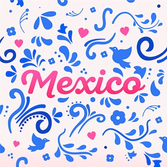 Lettrage coloré du mexique avec des ornements