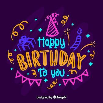 Lettrage coloré joyeux anniversaire