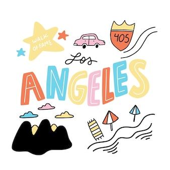 Lettrage Coloré De Los Angeles City Dessiné à La Main Vecteur gratuit