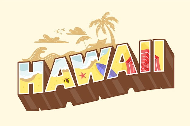 Lettrage coloré de la ville d'hawaï