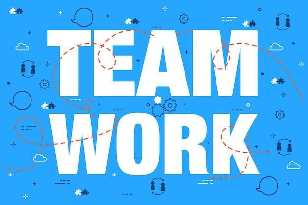 Lettrage de concept de travail d'équipe sur fond de doodle bleu