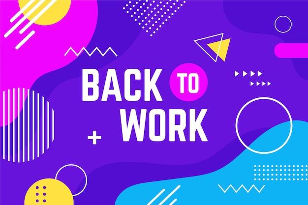 Lettrage créatif de retour au travail dans le style de memphis