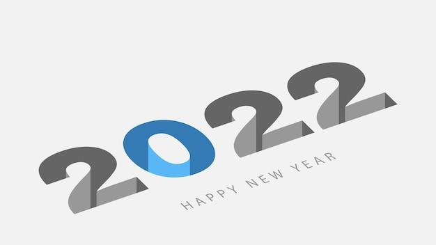 Lettrage créatif de vecteur de conception de calendrier 2022 dans le style d'illusion.
