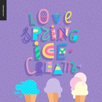 Lettrage de crème glacée au printemps love