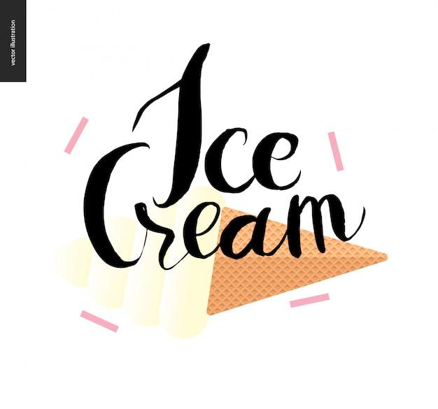 Lettrage de crème glacée et cornet de crème glacée gaufre - une illustration de vecteur de dessin animé plat et écriture à l'encre noire