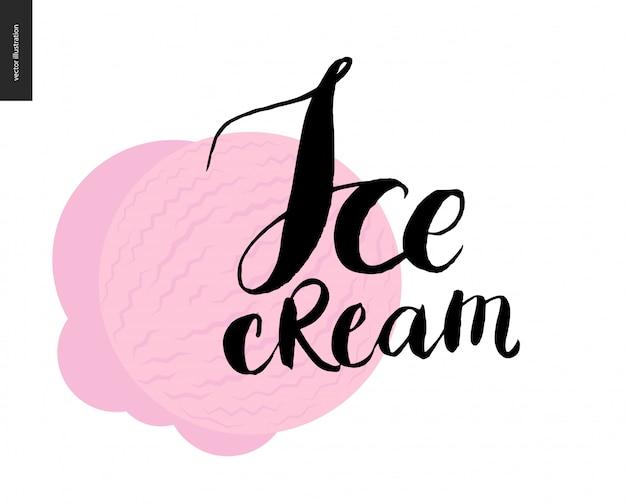 Lettrage de crème glacée sur une cuillère rose