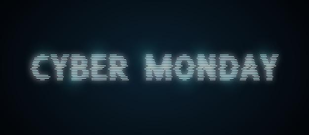 Lettrage cyber monday dans un style néon déformé.