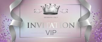Lettrage d'invitation VIP avec couronne en argent