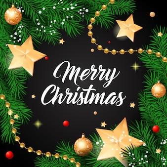 Lettrage de Noël avec des étoiles dorées