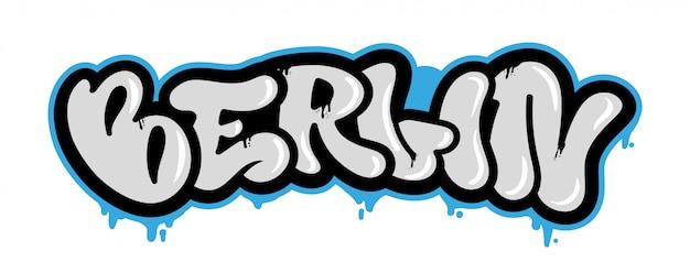 Lettrage décoratif contre le vandalisme touristique avec la célèbre ville de berlin dans le style de bombardement graffiti sur le mur à l'aide de peinture en aérosol. style de rue lettrage pour la couverture de l'affiche vêtements imprimés épingle patch autocollant