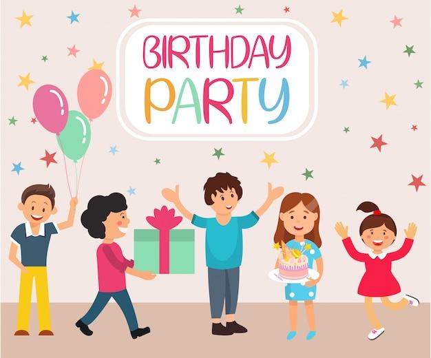 Lettrage de dessin animé de fête d'anniversaire.
