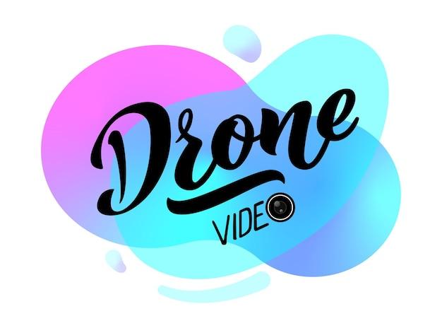 Lettrage de dessin de main de vidéo de drone pour l'emblème de logo de carte de visite de site web de projets
