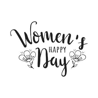 Lettrage dessiné à la main de la journée de la femme heureuse. carte de voeux de la journée internationale des femmes