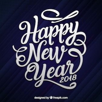 Lettrage dessiné à la main plat bonne année 2018