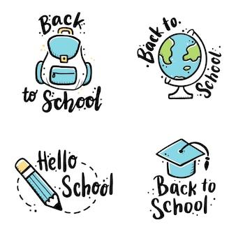 Lettrage dessiné à la main retour à l'illustration de citations d'école.
