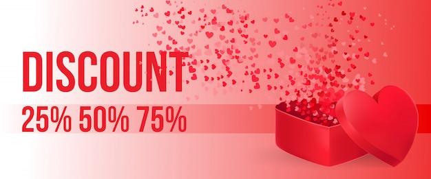 Lettrage discount avec boîte-cadeau en forme de coeur ouvert