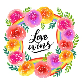 Lettrage du jour de la fierté avec des fleurs