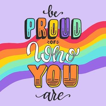 Lettrage du jour de la fierté avec message