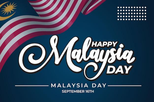 Lettrage du jour de la malaisie avec fond bleu