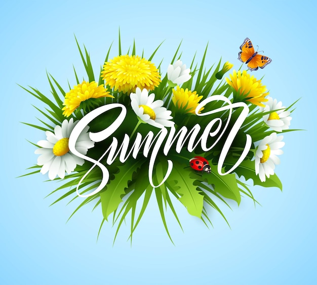 Lettrage d'écriture d'été avec fleur d'été.