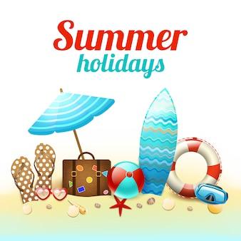 Lettrage et éléments de vacances d'été