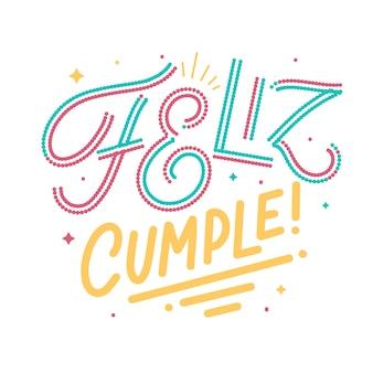 Lettrage espagnol joyeux anniversaire