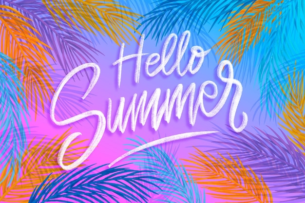 Lettrage d'été bonjour dessiné à la main