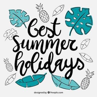 Lettrage d'été avec style dessiné à la main