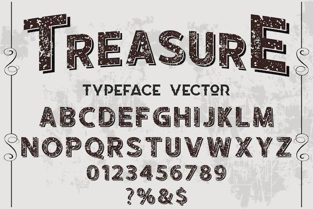Lettrage étiquette design trésor