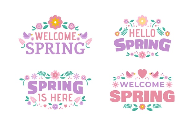 Lettrage d'étiquette de printemps design plat