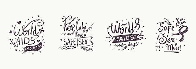 Lettrage d'événement de la journée mondiale du sida