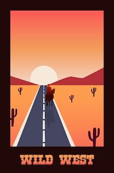 Lettrage de far west en affiche avec route dans une scène de désert