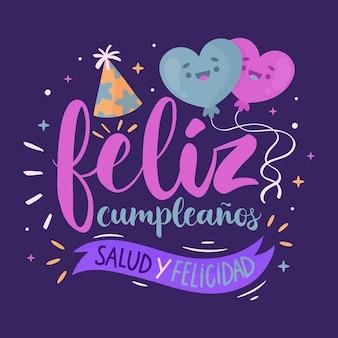 Lettrage avec feliz cumpleaños