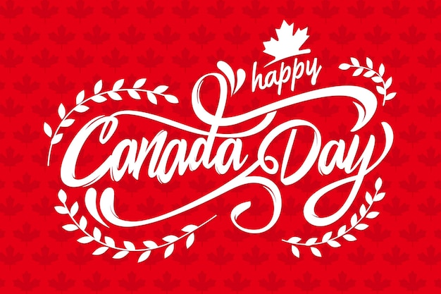 Lettrage de la fête du canada avec voeux