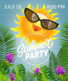 Lettrage de fête d'été avec soleil souriant dans des lunettes de soleil. offre d'été