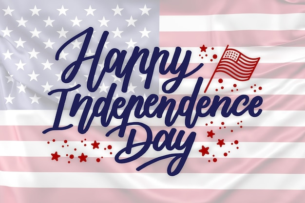 Lettrage de la fête de l'indépendance avec photo