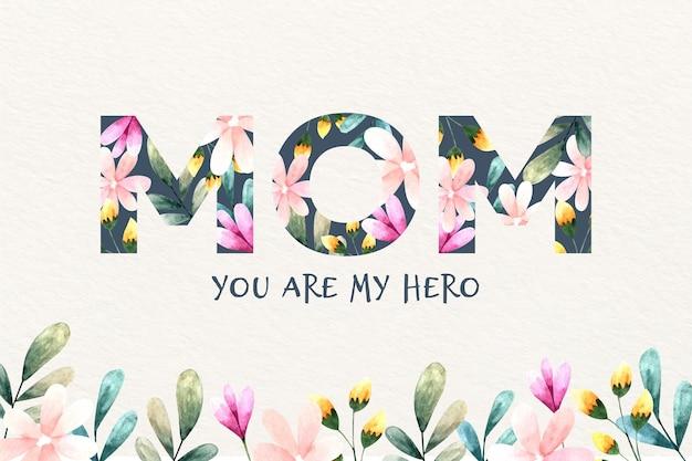 Lettrage de la fête des mères avec des fleurs