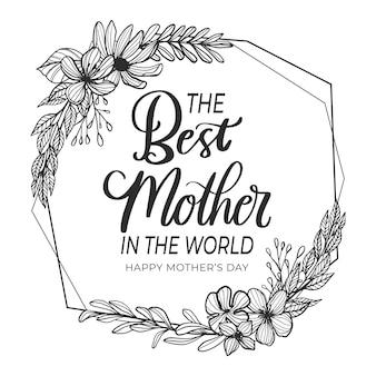 Lettrage de fête des mères floral noir et blanc